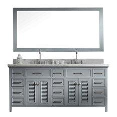 "Ariel Kensington 73"" Double Sink Bathroom Vanity Set, Grey"