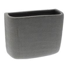 "Ceramic Gray Long Wall Pocket Vase, Set of 7"", Decorative Flowers Hanging"
