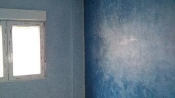 Moldura de escayola y pintura decorativa