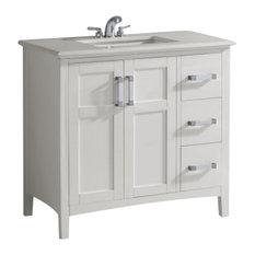 "Winston Contemporary Bath Vanity, Soft White, Bombay White Top, 37"""