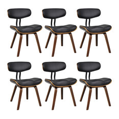 vidaXL Bentwood and Faux Leather Dining Chairs With Backrest, Set of 6