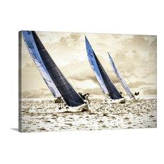 "Racing Waters II Wrapped Canvas Art Print, 48""x32""x1.5"""