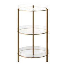 Round Tiered Bar Car With Transparent Shelves