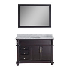 "Victoria 48"" Vanity, White Marble, With Mirror, Without Faucet, Round"