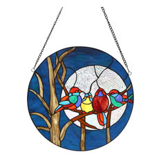 """16""""H Birds in the Night Sky Round Stained Glass Window Panel"""