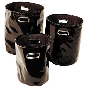 Slick Gloss PVC Round/Decorative Baskets, 3-Piece Set, Black