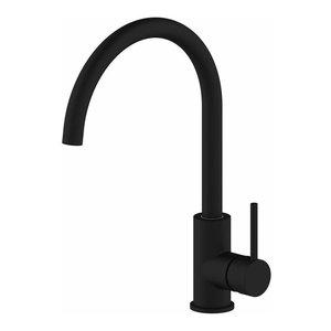 Traditional Single Lever Kitchen Sink Tap, Solid Brass, Swivel Spout Matte Black