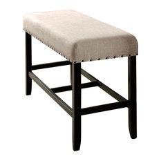 Sania II Rustic Counter Ht. Bench, Antique Black Finish