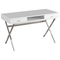 Computer Desk, Glossy White, Chrome Metal