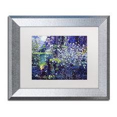 """Glover 'Tangled White Flowers' Art, Silver Frame, 11""""x14"""", White Matte"""