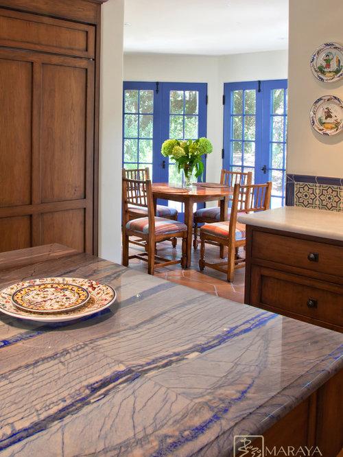 Inspiration For A Large Mediterranean U Shaped Ceramic Floor Enclosed  Kitchen Remodel In Santa Barbara
