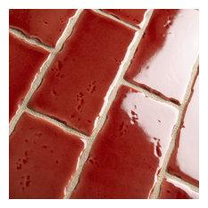 "2.5""x5.13"" Nove Subway Ceramic Wall Tile, Set of 60, Crimson"