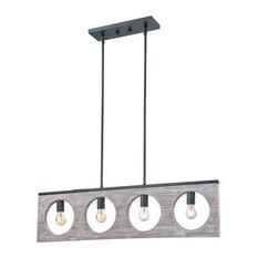 "Rustic Wood In Gray Color 4-Light Pendant, No Bulbs 38 5/8""X 10 3/8"""