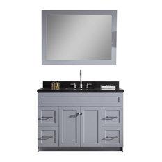 """Hamlet 49"""" Single Sink Vanity Set, Absolute Black Granite Countertop, Grey"""