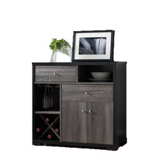 Smart Home Furniture   Wine Cabinet Table, Distressed Grey And Black   Wine  And Bar