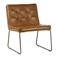 Design Mix Furniture   Aged Leather Side Chair With Metal Frame   Armchairs  And Accent Chairs