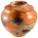 Chad Jerzak Pottery - Barrel Fired Low Vase - This handmade Barrel fired pottery vase form was created from hand-thrown porcelain, burnished and fired in a steel drum with a variety of sawdust, wood and colorants. Each piece fired in this way is entirely unique and creates its own unique presence. Grace your space with this unique, eclectic style!