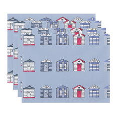 "18""x14"" Multi Beach Hut, Stripe Print Placemats, Set of 4, Blue"