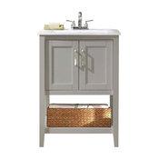 Gray Sink Vanity With Basket