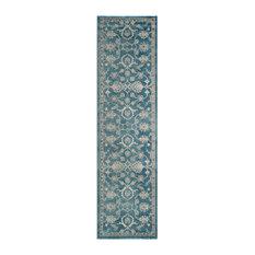 Corina Distressed Hallway Runner, Blue and Beige, 66x243 cm