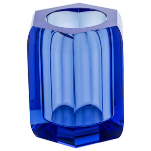Crystal Glass Countertop Toothbrush Holder, Blue