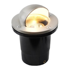 """12V Composite Ground Well Light With """"Eyebrow"""" Cover, Satin Nickel"""