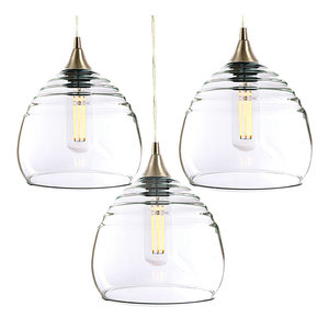 Lucent 3-Light Cascade Pendant No. 302b, Clear Glass Shades