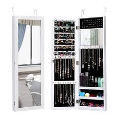 Costway Wall Door Mounted Mirrored Jewelry Cabinet Storage Organizer White