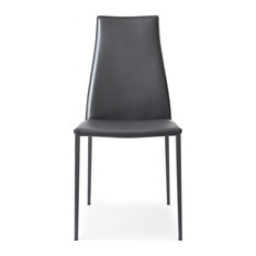 Aida Leather Dining Chair, Calligaris, Set of 2, Grey