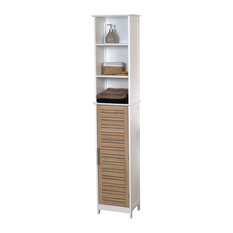 ea5802451f8 Freestanding Bath Wood Linen Tower Cabinet Shelves and Drawers Storage