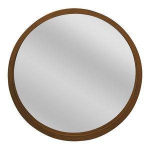 Round Wooden Wall Mirror, Brown