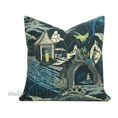 P KAUFMAN/STUDIO TULLIA - Chinoiserie Pillow Cover, Asian, Neo Toile, Indigo, Chinoiserie, 19 - Decorative Pillows