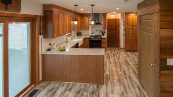 Rustic Kitchen showcasing fireclay farm house sink & eye-catching wood beam
