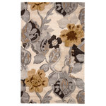 Jaipur Living - Jaipur Living Petal Pusher Handmade Floral Multicolor/White Area Rug, 9'x12' - This hand-tufted area rug delivers artistic charm with rich and moody hues. Watercolor blooms in gray, brown, and gold create a large-scale design on the off-white backdrop, while the wool and viscose blend lends a sumptuous feel underfoot.