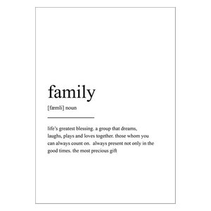 Family Definition Scandinavian Style Typography Print, 12x18 Cm