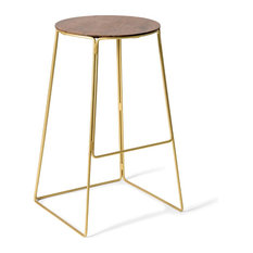 MOD - Edie Wood and Brass Bar Stool - Bar Stools and Counter Stools
