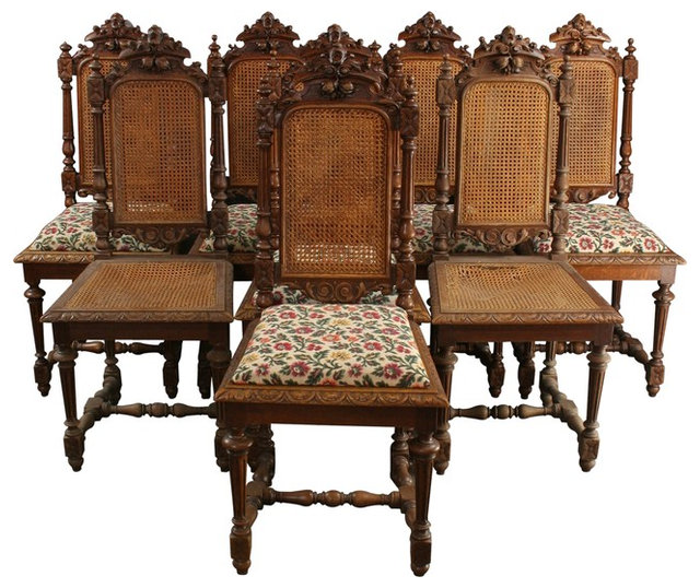 Consigned Antique Dining Chairs, 1880 French Hunting, Set Of 8 - Consigned Antique Dining Chairs, 1880 French Hunting, Set Of 8