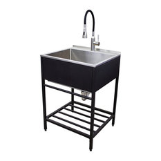 """Transolid 25""""x22"""" Stainless Steel Laundry Sink with Wash Stand in Matte Black"""