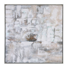 "Abstract 41"" Neutral Tones Wall Art, Painting Beige White Square"
