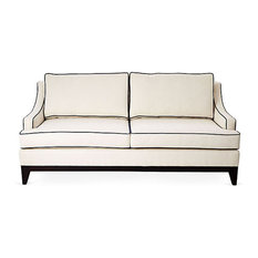 Dallas Sofa Ivory Performance/Navy Piping