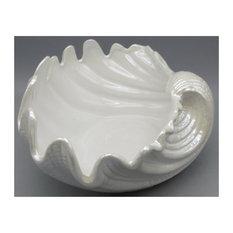 "Ceramic Shell Plate, White Porcelain Ceramic 12""x12""x7"""