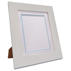 "Brix Frame, White, White on Blue Double Mount, 6x4"", Image 4.5x2.5"""