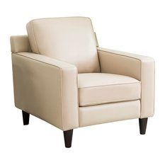 Abbyson Living Stardell Top Grain Leather Armchair, Cream