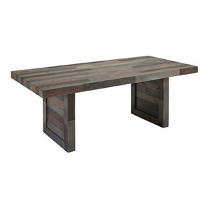 "Norman Reclaimed Pine 82"" Distressed Dining Table by Kosas Home, Charcoal"