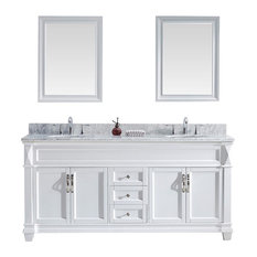 "Victoria 72"" Double Bathroom Vanity Set, White, Marble Countertop"