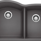 "Blanco 440177 20.8""x32"" Granite Double Undermount Kitchen Sink, Cinder"