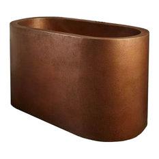 Oval Copper Japanese Soaking Tub by SoLuna, Dark Smoke, 1 Seat