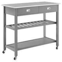 Chloe Stainless Steel Top Kitchen Island Cart, Gray/Stainless Steel