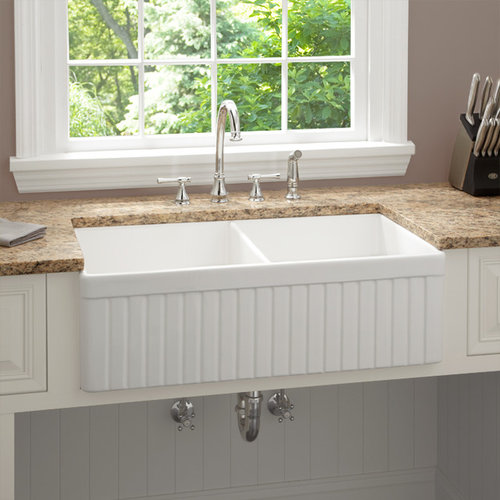 33 Inch Baldwin Double Bowl Fireclay Farmhouse Kitchen Sink Fluted A More Info