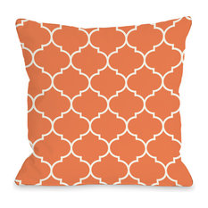 """Repeating Moroccan"" Outdoor Throw Pillow by OneBellaCasa, Tangerine, 18""x18"""
